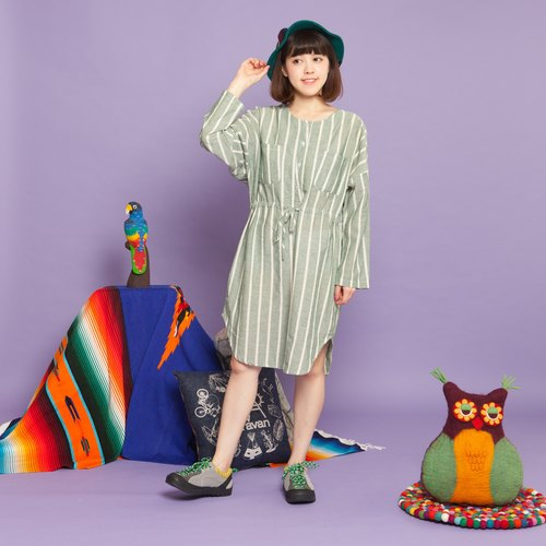 ✬saibaba ethnique // tying round neck striped dress ✬