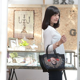 Jacquard stitching leather handbag punk skull black jacquard woven canvas cowhide