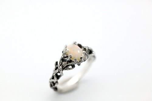 Branch series Ⅰ- natural opal Silver Ring
