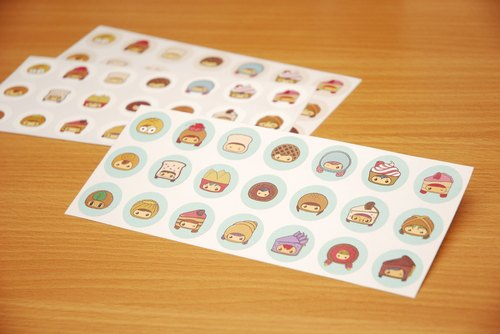 Snack time round sticker (blue paragraph 21 in)