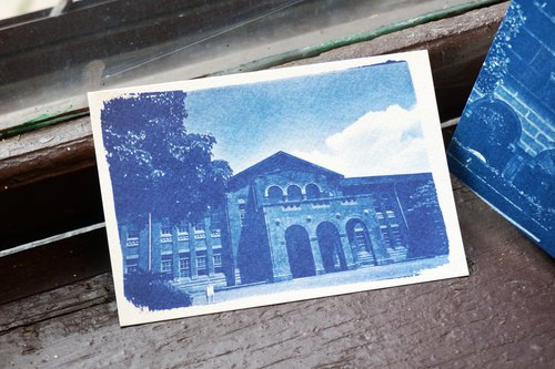 Great impression of blue sun postcard - College of Arts