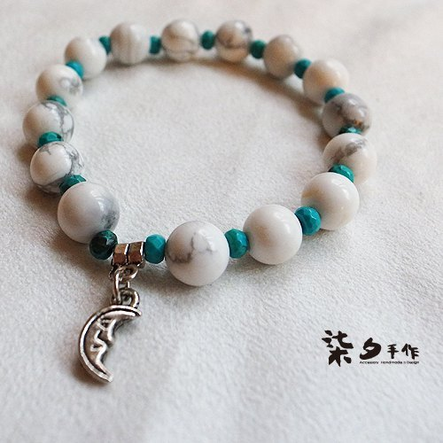 ☽ Qi Xi hand for ☽ [07224] moon paragraph white with turquoise plessite