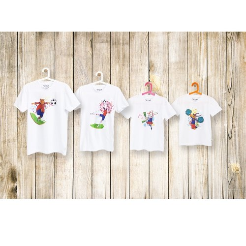 Parent-child family crazy football Tee-- attack (three groups)