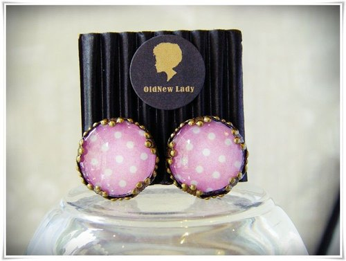 OldNew Lady- 1.5cm round bronze ear clip. Pop style style [pink] little new color!