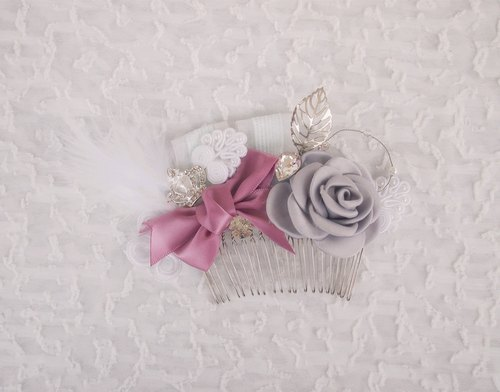 Roses Flower Garden Western-style wedding bride flash diamond bow comb hair accessories wedding tiara