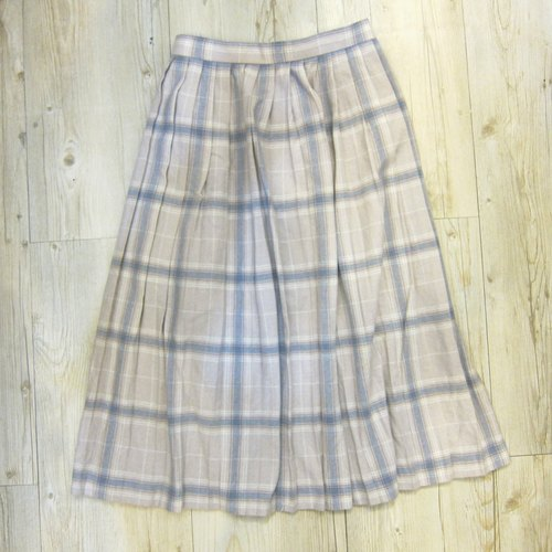 ❄ ❄ Art Girls elastic waist lotus light gray and purple grid in vintage wool skirt pleated skirt