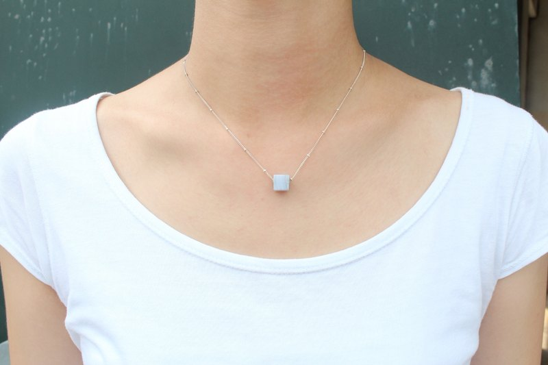 [Emerald.3] small cubes of natural stone Silver Necklace - Sapphire Sui
