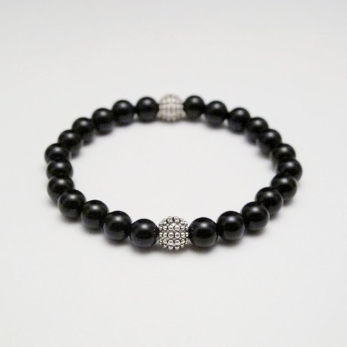 [Orange] Mr. Mu MUCHU agate. Hedgehog silver ball black onyx bracelet AB028