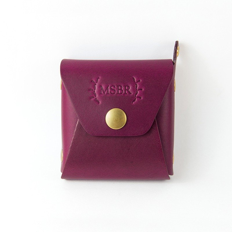 Leather mini purse, Coin Case, Small leather pouch (Purple)