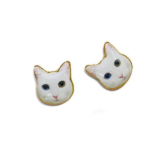 Owl earrings / ear clip series white small dumpling seaside amusement park