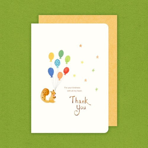 Berger stationery x-painted watercolor warm thank you card card [squirrel]