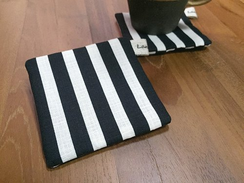 ::Lane68:: Black and White Striped Handmade Coaster (Set of 2)