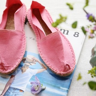 Espadrilles cherry pink straw shoes