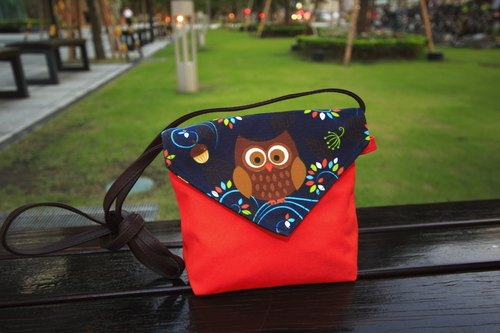 Pu. Leimi Japanese hand-made shoulder bag / messenger bag playful owl (cloth out of print, limited edition merchandise last one)