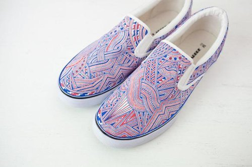 ~ Order production ~ [hand-painted pattern sneakers] Blue & Red