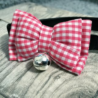Pink small white plaid bow pet collar dog cat S size