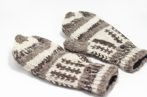 Christmas gifts Limited a hand-woven pure wool knit gloves / detachable gloves / bristles gloves / warm gloves - brown autumn leaves