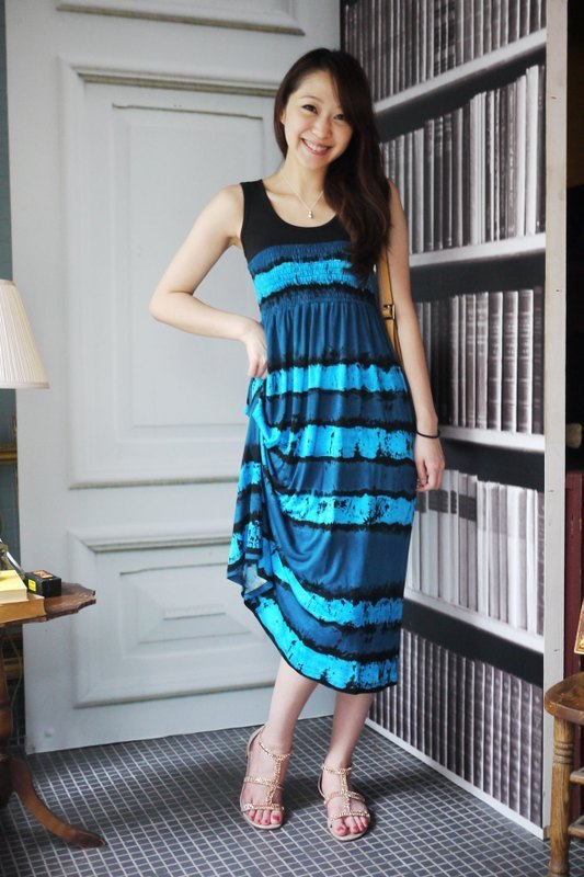 GEORGIA TSAO deep blue long dress