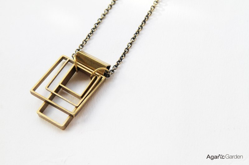 █ square geometric abstract necklace
