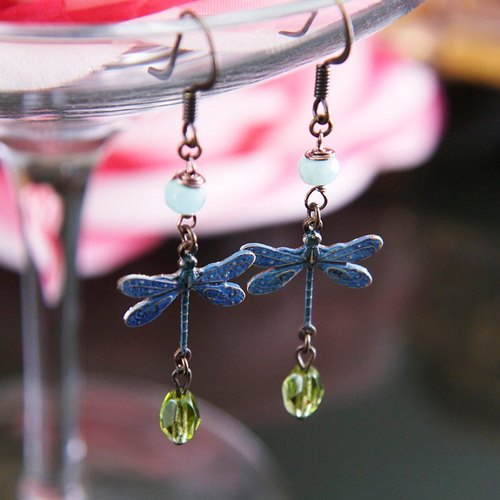 Natural stone bronze dragonfly earrings