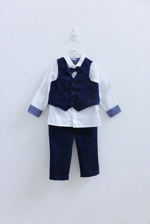 andywawa little prince dark blue three-piece suit gentleman
