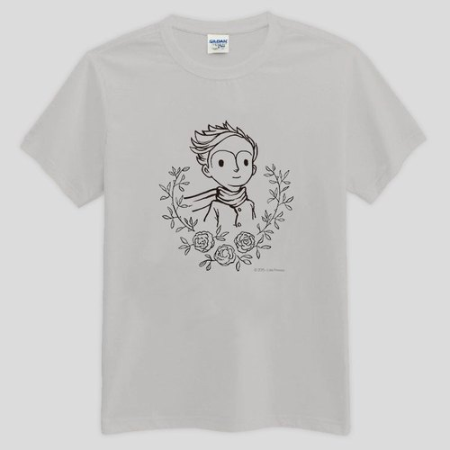 Little Prince Movie Version authorized - T-Shirt: The Little Prince [love]: short-sleeved T-shirt (Heather Grey / yellow / orange / apple green)