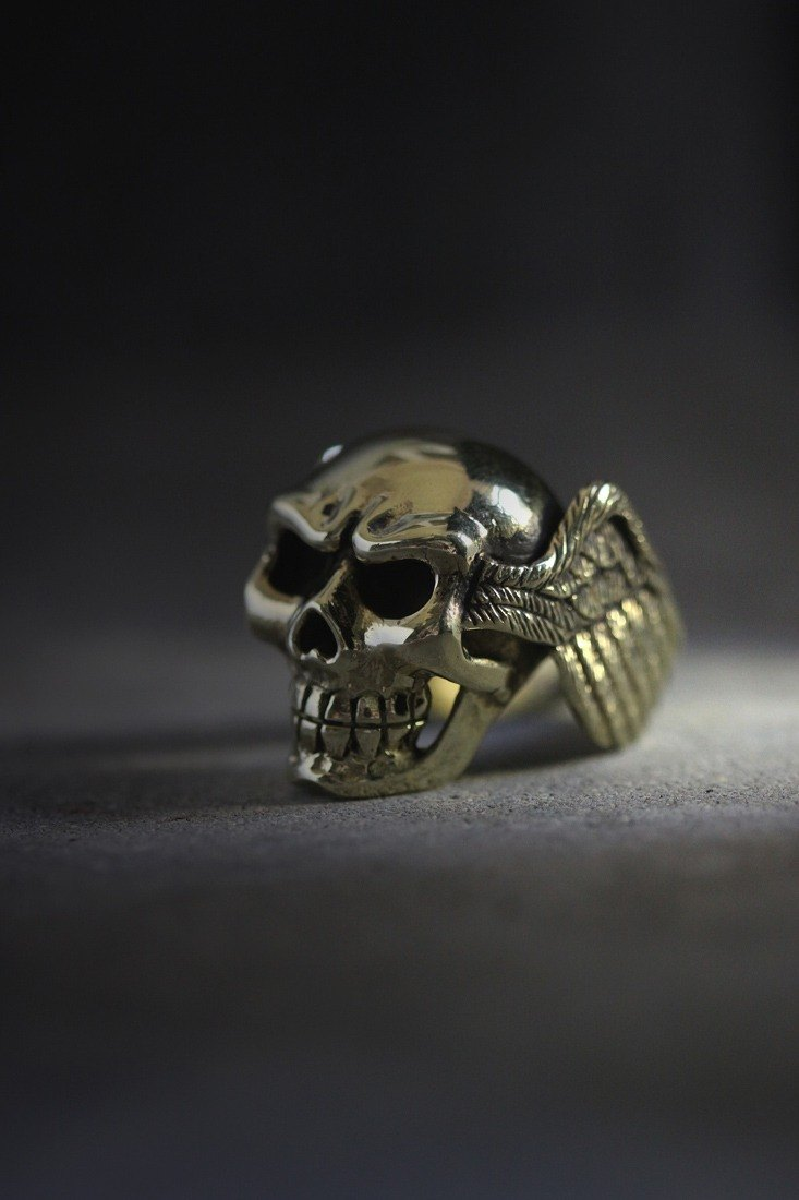 Skull with Bird Wings Ring Original by Defy.