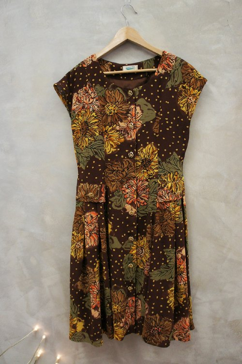 PdB vintage coffee big orange flower color Chiffon Dress