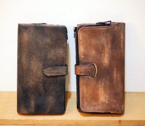 Ink series multifunction manual cowhide long clip / long folder / handmade leather / leather / leather / texture / Handmade / leather / Wallet