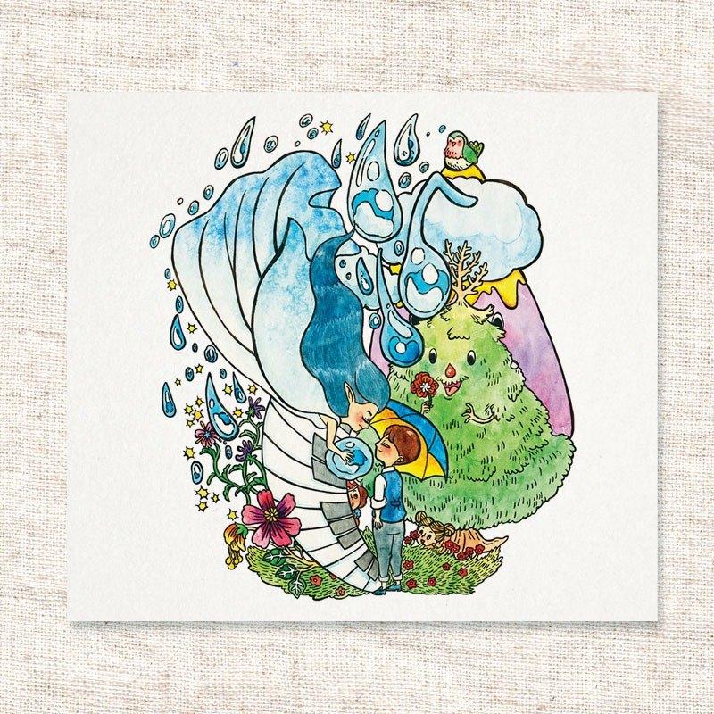 水彩手繪插畫 | 問候卡 | 畫作 | 擺飾 | 掛畫 | 明信片 | 卡片 | 複製畫【KissThe Rain】