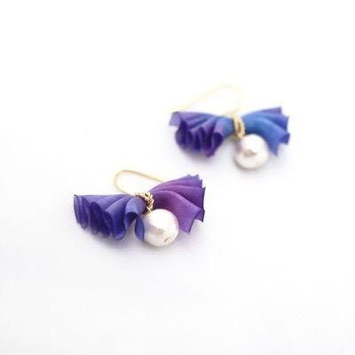 Ribbon earrings & earrings gattina [Blue]