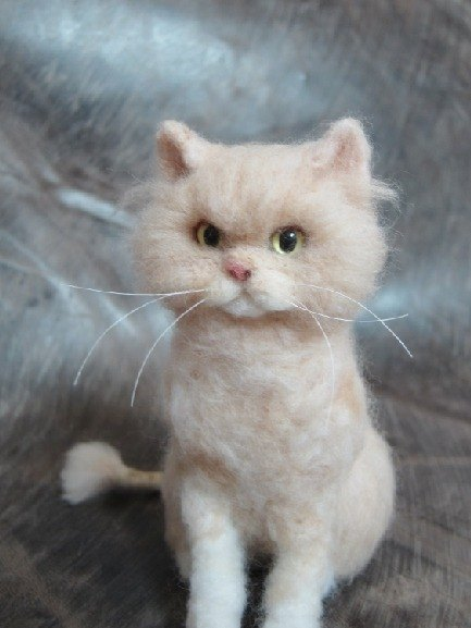 MINI'S SECRET ~ handmade wool felt special ordered a highly realistic simulation doll cat engraved Showcase