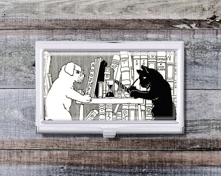 Cat and Dog Reading Club - Business Card Holder / Card Case / Office Worker Accessories [Special U Design]