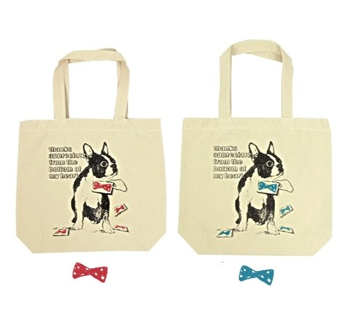 Spot. French Bulldog tie Medium Tote / A4 documents can be incorporated (red tie paragraph) large capacity 35cm * 29cm heavy resistance