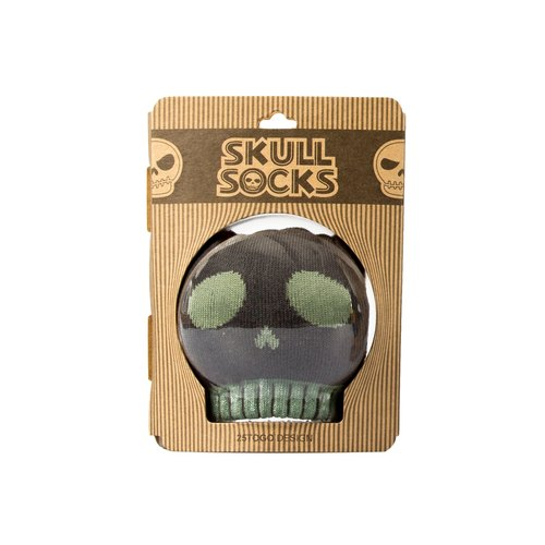 SKULL PATTERN SOCKS printing skull socks _ mud green silly face