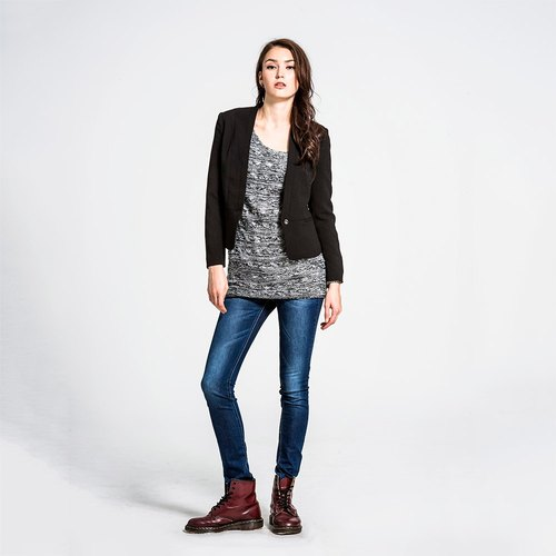Single-button suit jacket female models - black NOVI