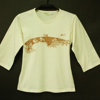 Metallurgical green organic cotton [Erde] the female version Sleeve