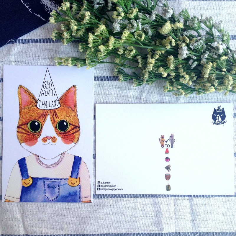 Geg Huay cat postcard