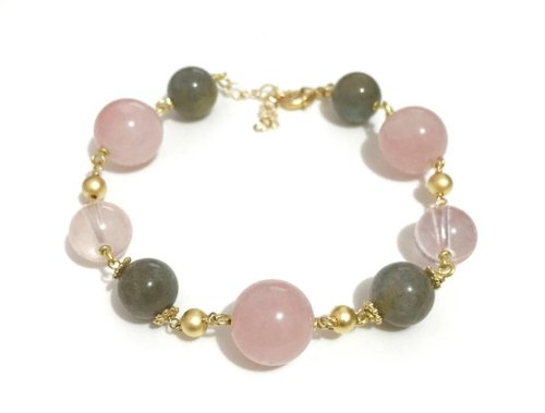 Little Elegant Rose Quartz with Labradorite Bracelet