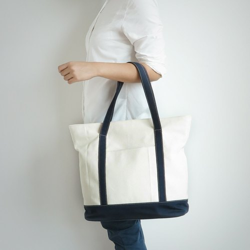 tote bag - raw white+navy blue(strap)