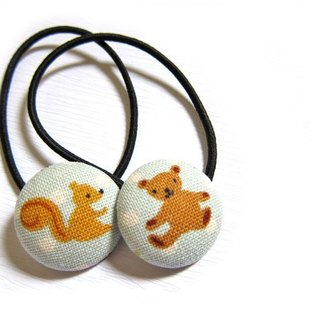 Hand-made cloth button hair headband ring Bear & amp; squirrel