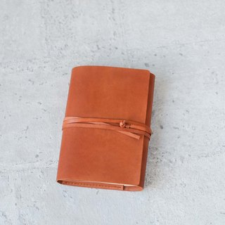 Orange refillable leather journal notebook/ Book Cover A6