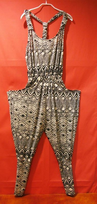 Post Free Shipping! Baroque geometric jumpsuit pants - black tribal wild