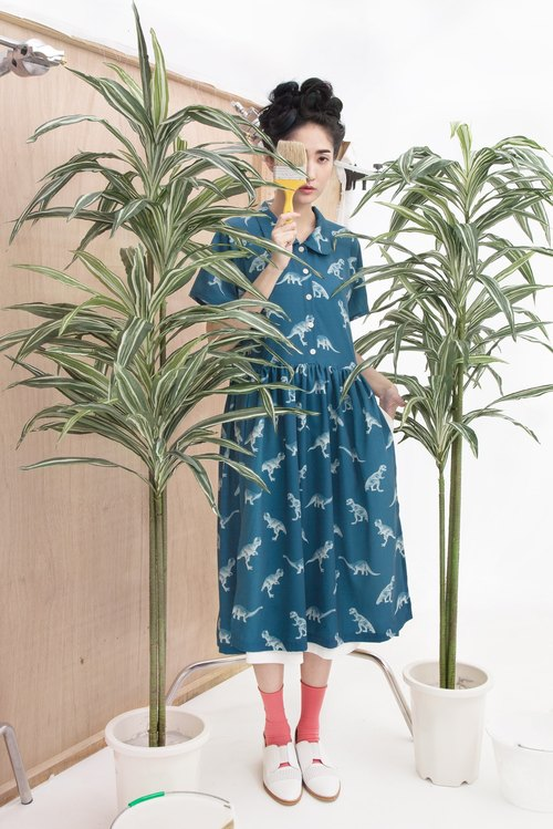 tan tan x Hsiao-Ron Cheng / dinosaur prints double Dress