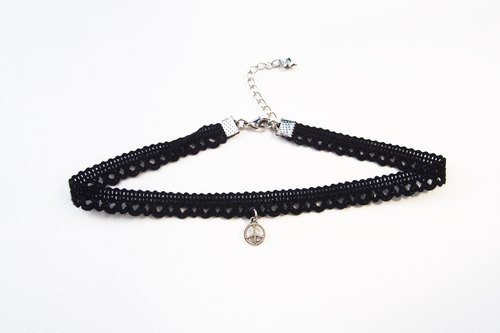 Black lace choker / necklace with silver peace.