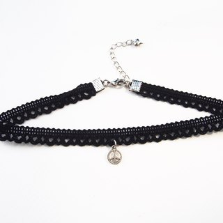 Black lace choker/necklace with silver peace