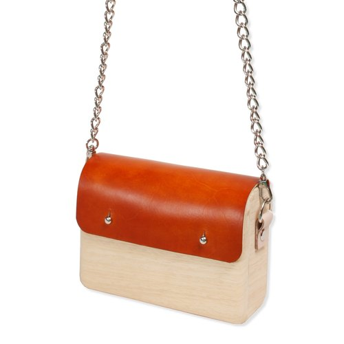 Wooden Shoulder Bag (Small) (Orange)