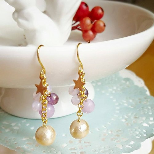 [Atelier A.] Summer Campaign Star の pieces of cotton beads earrings