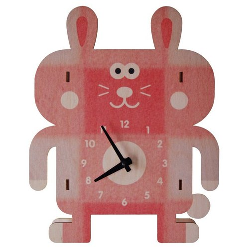 Moment of wood are -modern moose-3D clock wall clock - rabbit pattern