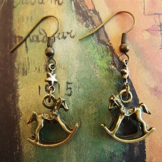 Metal rocking horse earrings